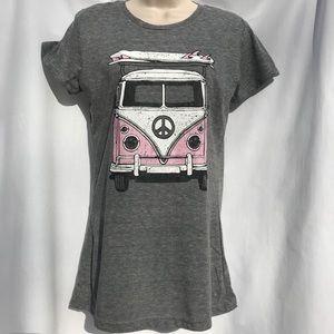 Heather gray t-shirt w/surfboard & van bus like VW